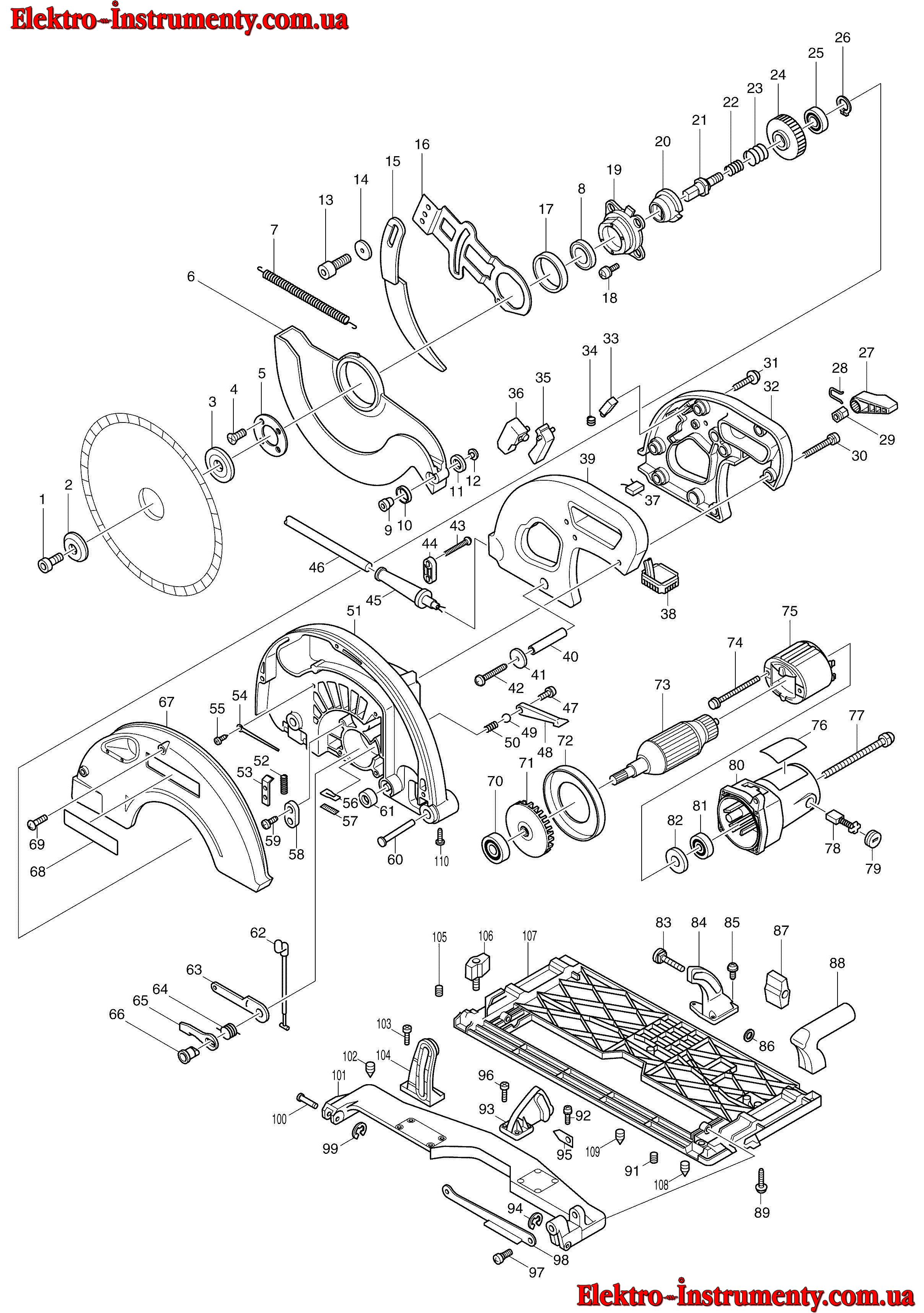 Схема ручной циркулярной пилы