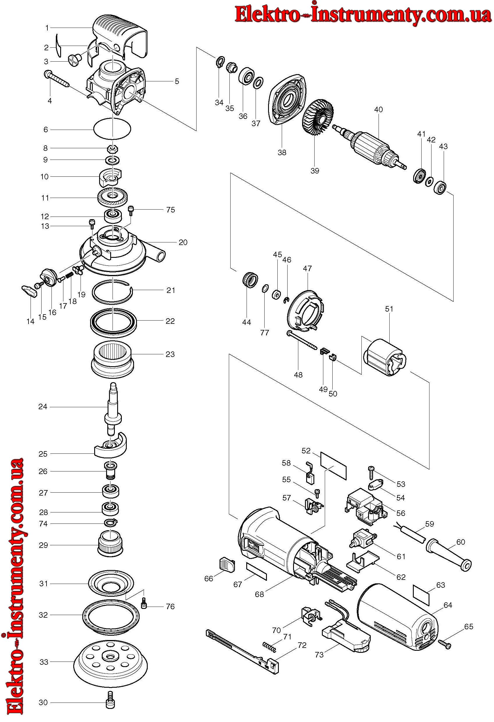 Запчасти и схемы эксцентриковых шлифмашин бош