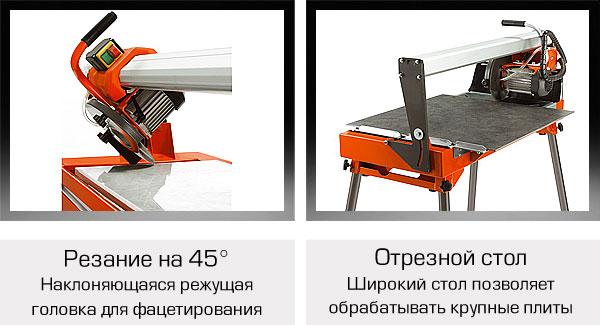 Плиткорез: угол резки и отрезной стол